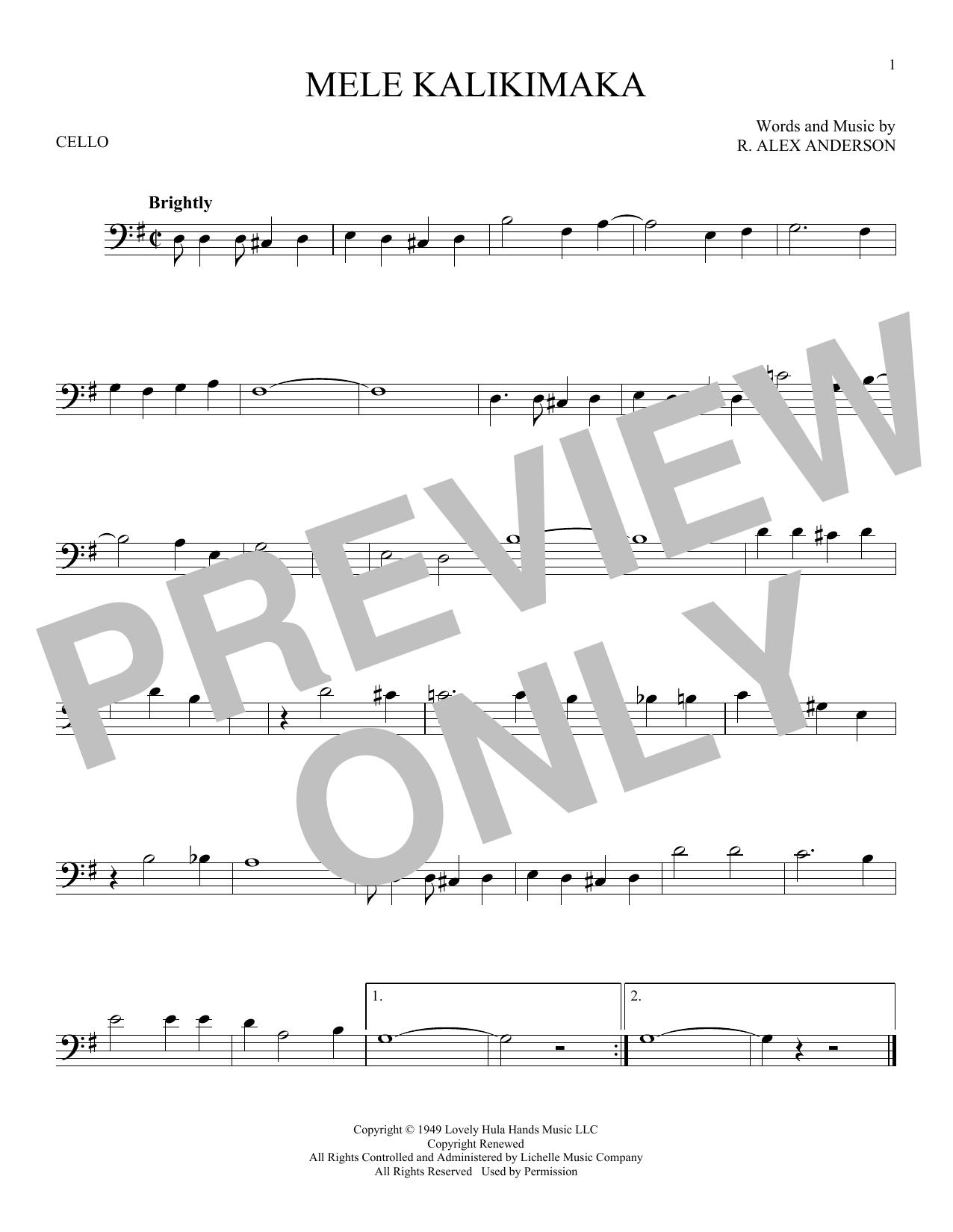 Partition autre Mele Kalikimaka de Bing Crosby - Violoncelle