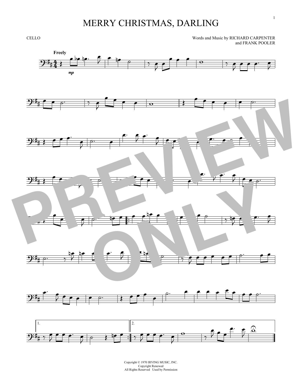 Partition autre Merry Christmas, Darling de The Carpenters - Violoncelle