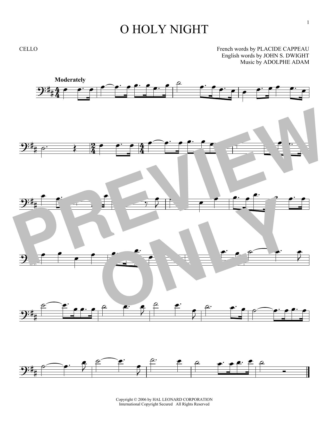 Partition autre O Holy Night de Adolphe Adam - Violoncelle