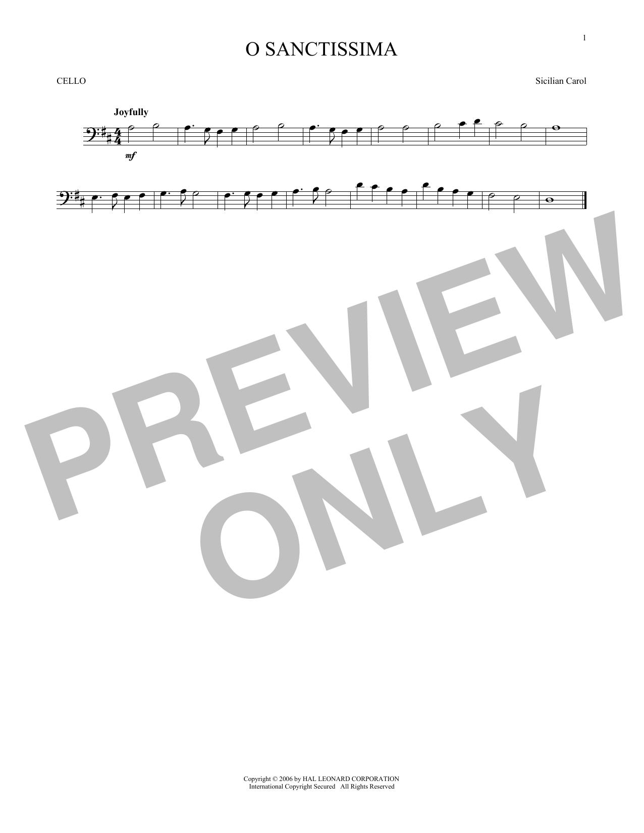 Partition autre O Sanctissima de Traditional Carol - Violoncelle