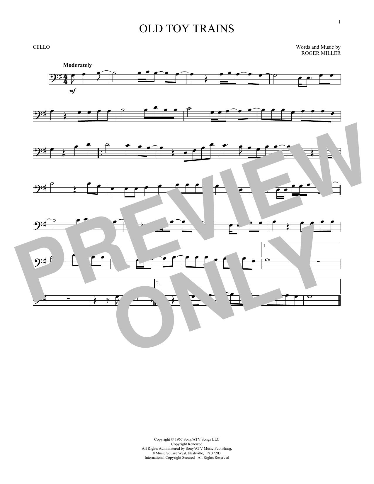 Partition autre Old Toy Trains de Roger Miller - Violoncelle