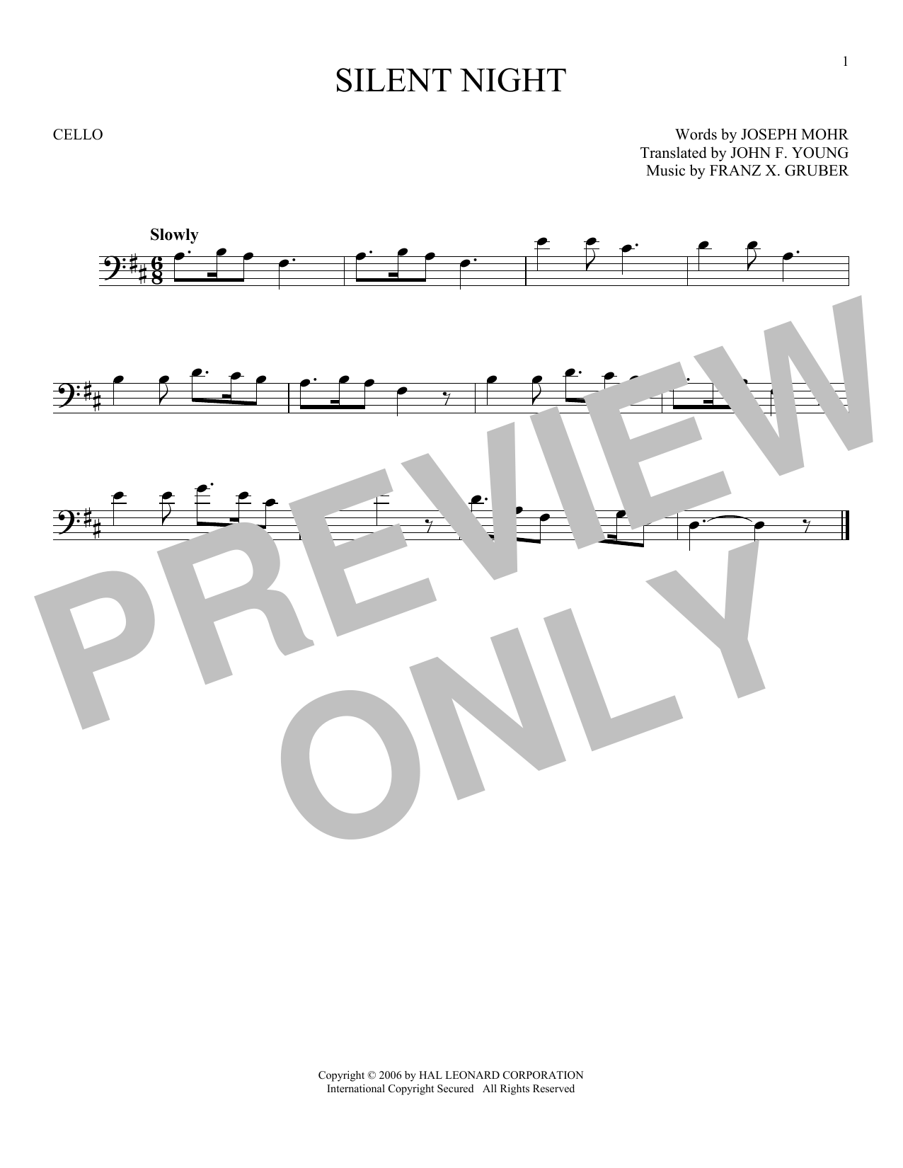 Partition autre Silent Night de Franz X. Gruber - Violoncelle