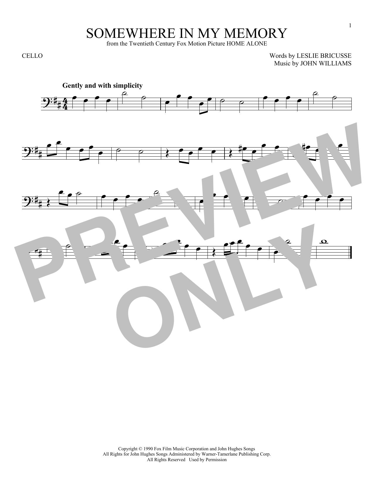 Partition autre Somewhere In My Memory de John Williams - Violoncelle