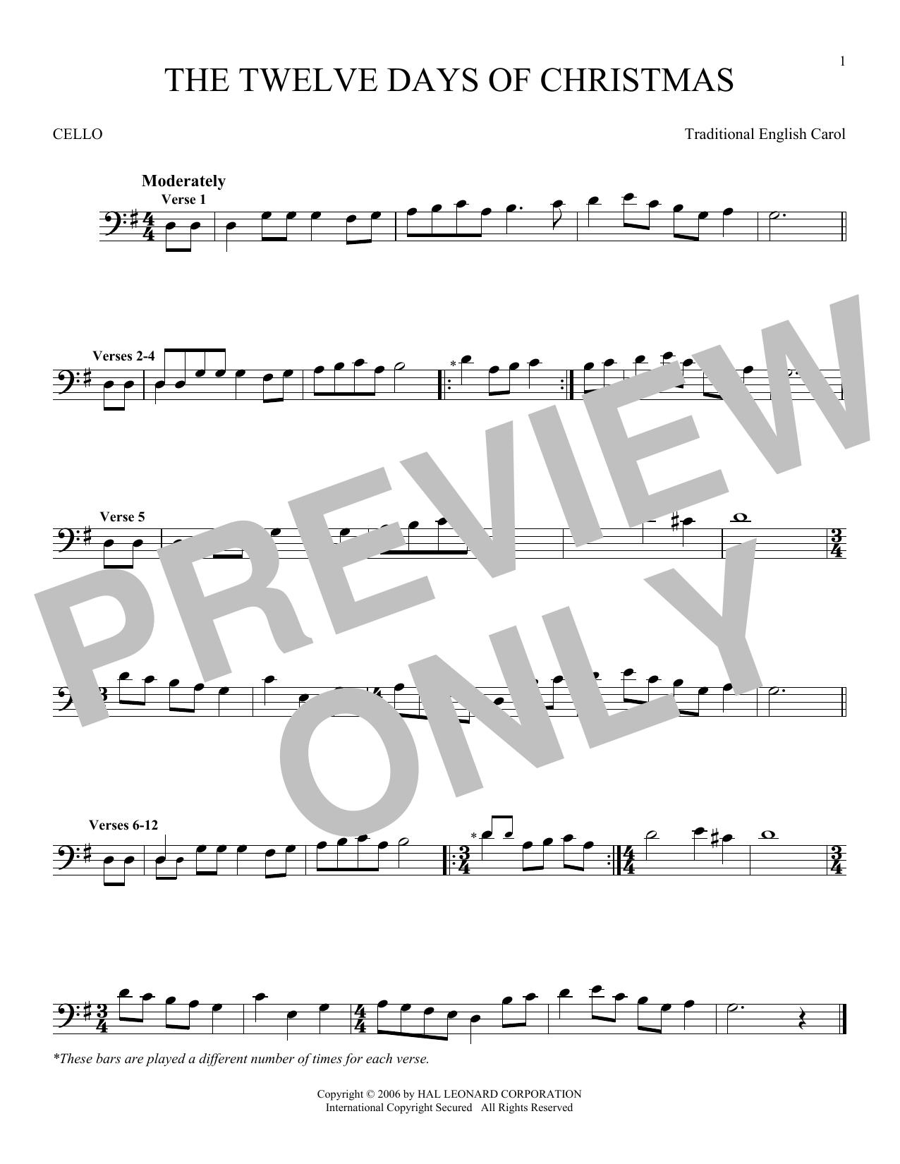 Partition autre The Twelve Days Of Christmas de Traditional English Carol - Violoncelle