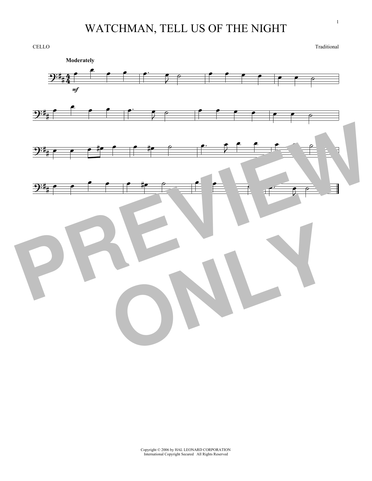 Partition autre Watchman, Tell Us Of The Night de Traditional - Violoncelle