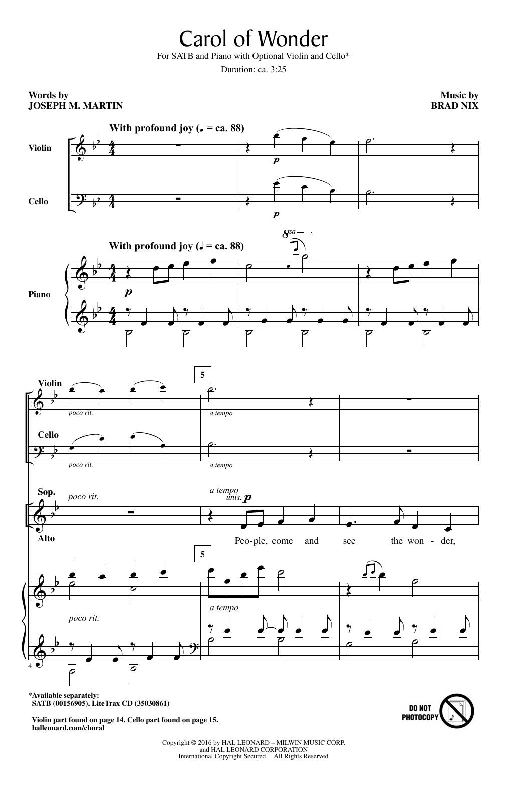 Partition chorale Carol Of Wonder de Brad Nix - SATB
