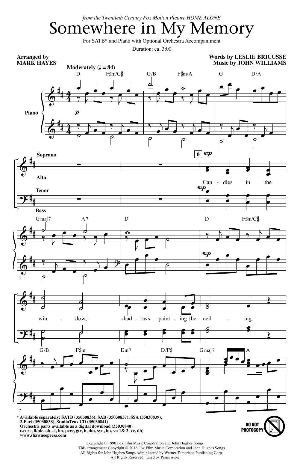 Partition chorale Somewhere In My Memory de John Williams - SATB
