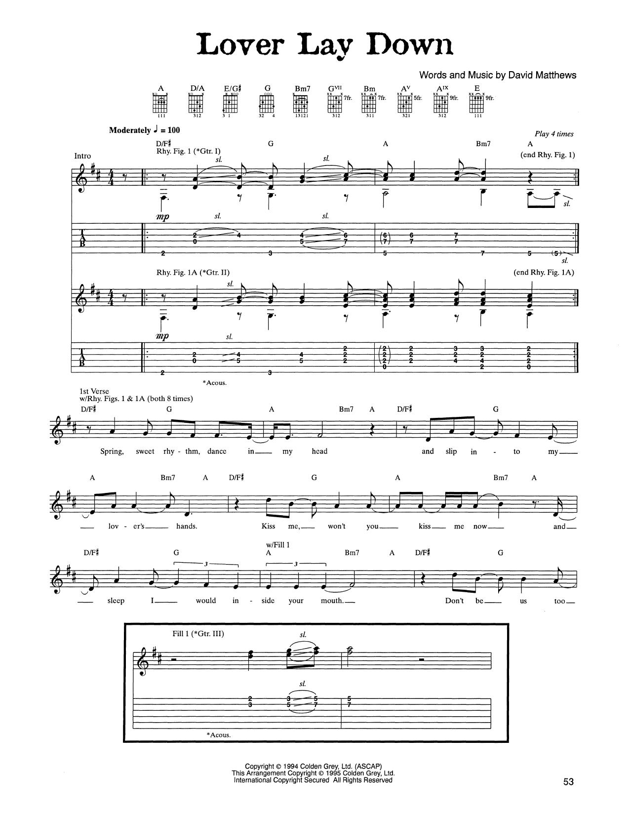 Tablature guitare Lover Lay Down de Dave Matthews Band - Tablature Guitare