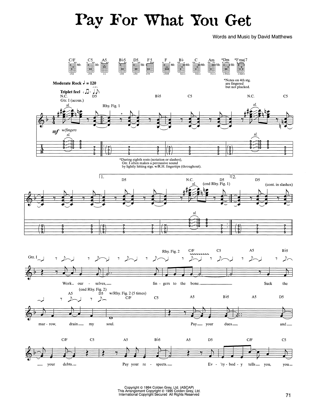 Tablature guitare Pay For What You Get de Dave Matthews Band - Tablature Guitare
