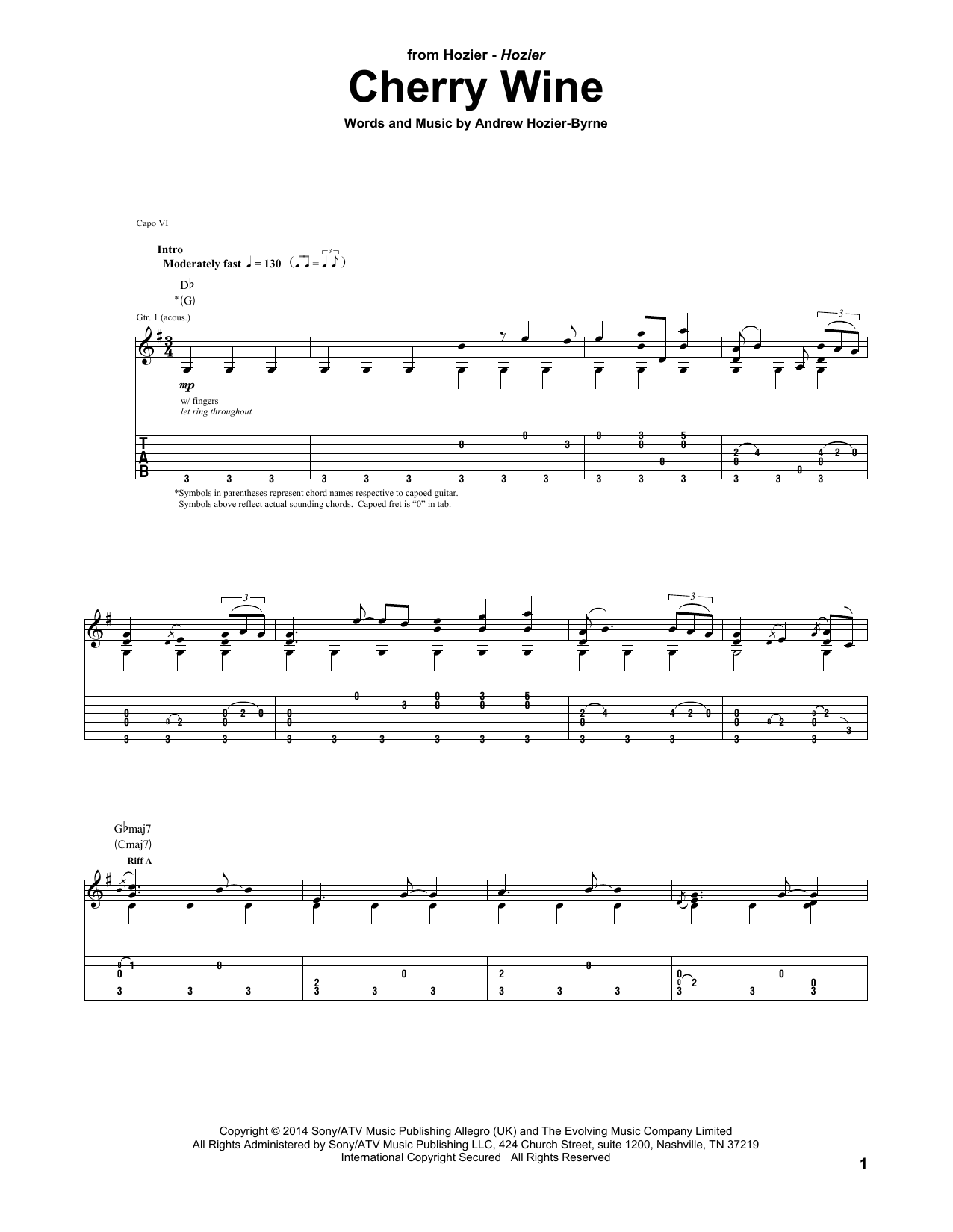 Tablature guitare Cherry Wine de Hozier - Tablature Guitare