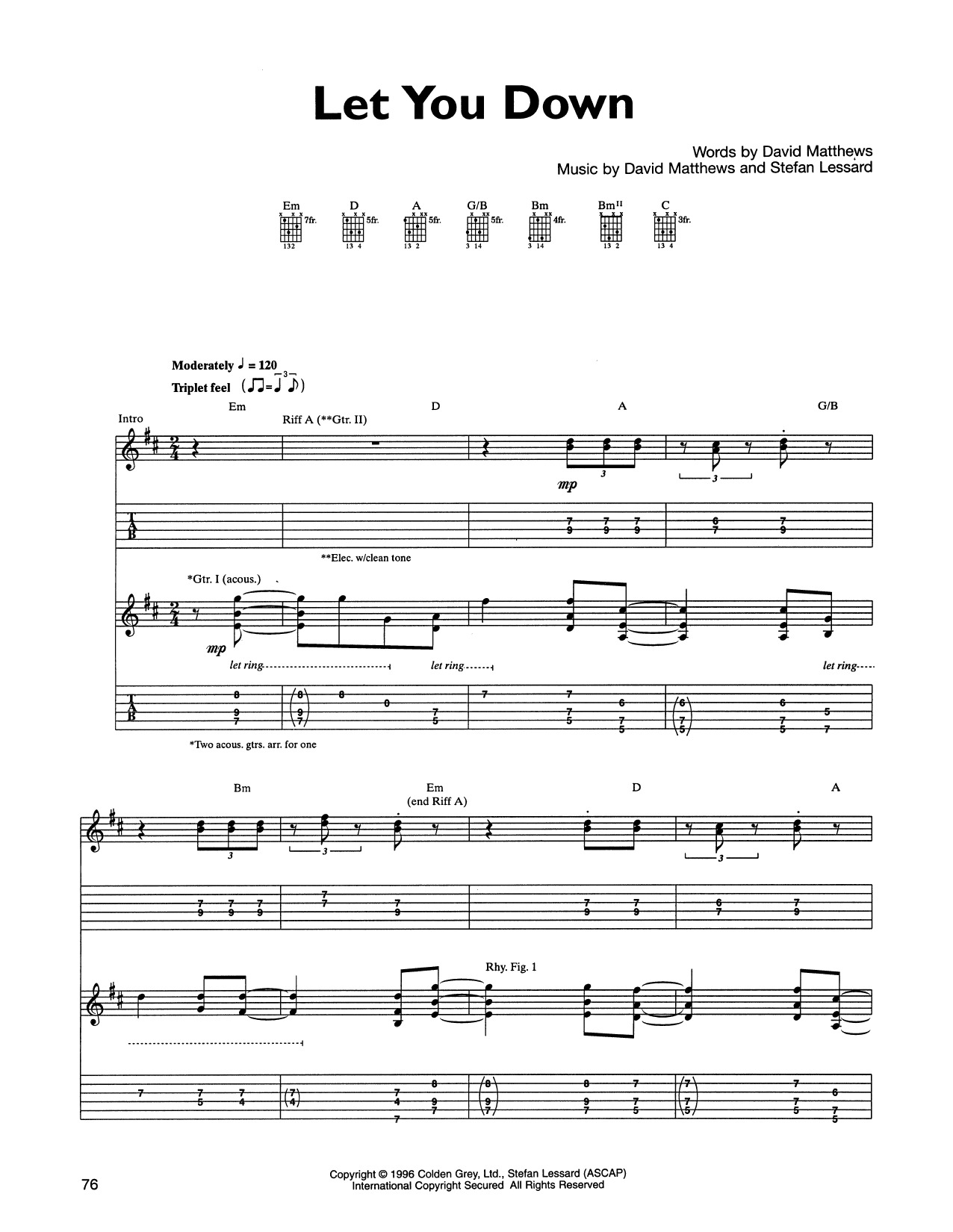 Tablature guitare Let You Down de Dave Matthews Band - Tablature Guitare