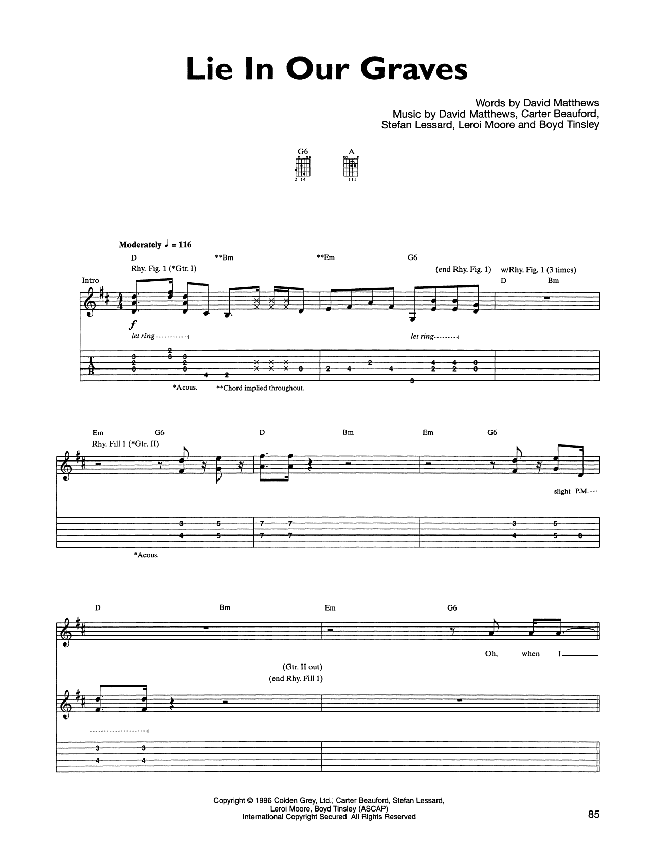 Tablature guitare Lie In Our Graves de Dave Matthews Band - Tablature Guitare