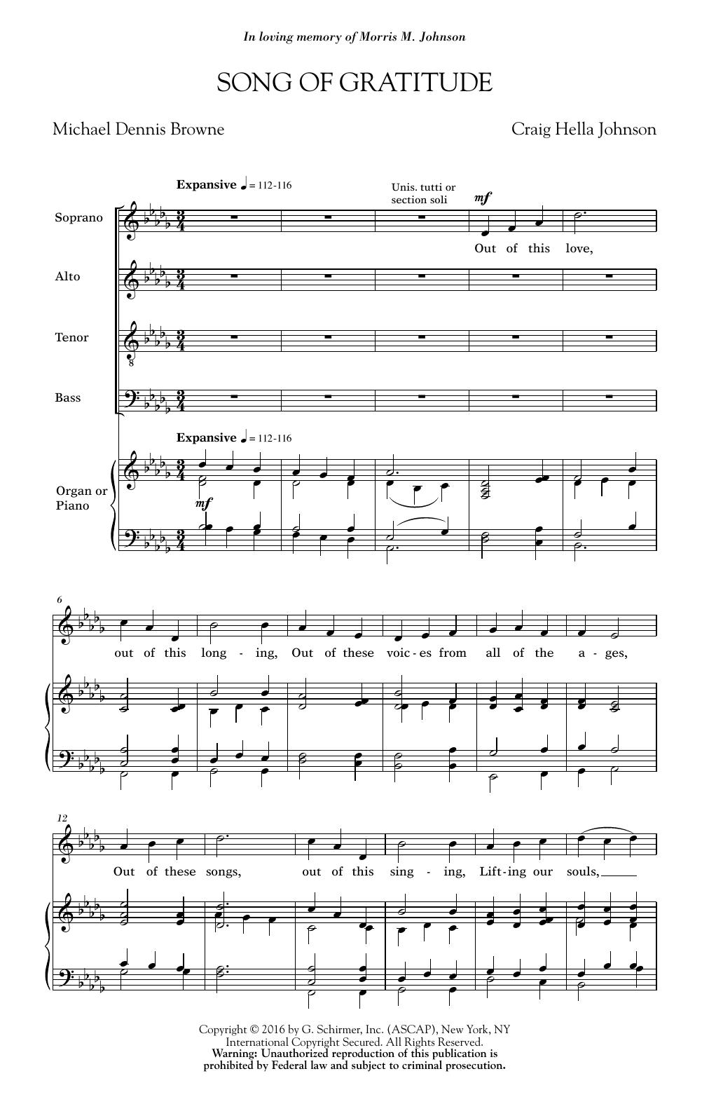 Partition chorale Song Of Gratitude de Craig Hella Johnson - SATB