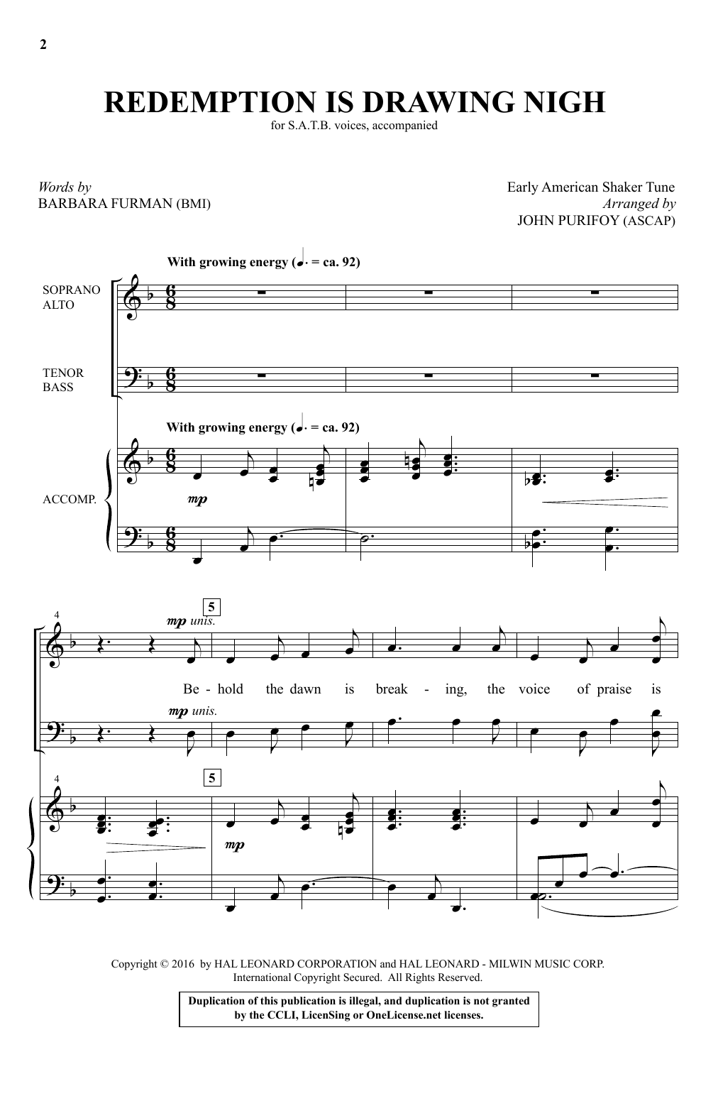Partition chorale Redemption Is Drawing Nigh (arr. John Purifoy) de Traditional Shaker Hymn - SATB
