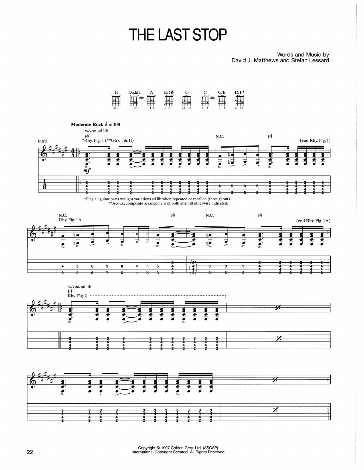 Tablature guitare The Last Stop de Dave Matthews Band - Tablature Guitare
