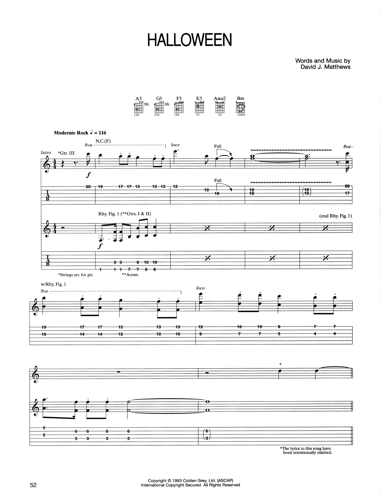 Tablature guitare Halloween de Dave Matthews Band - Tablature Guitare