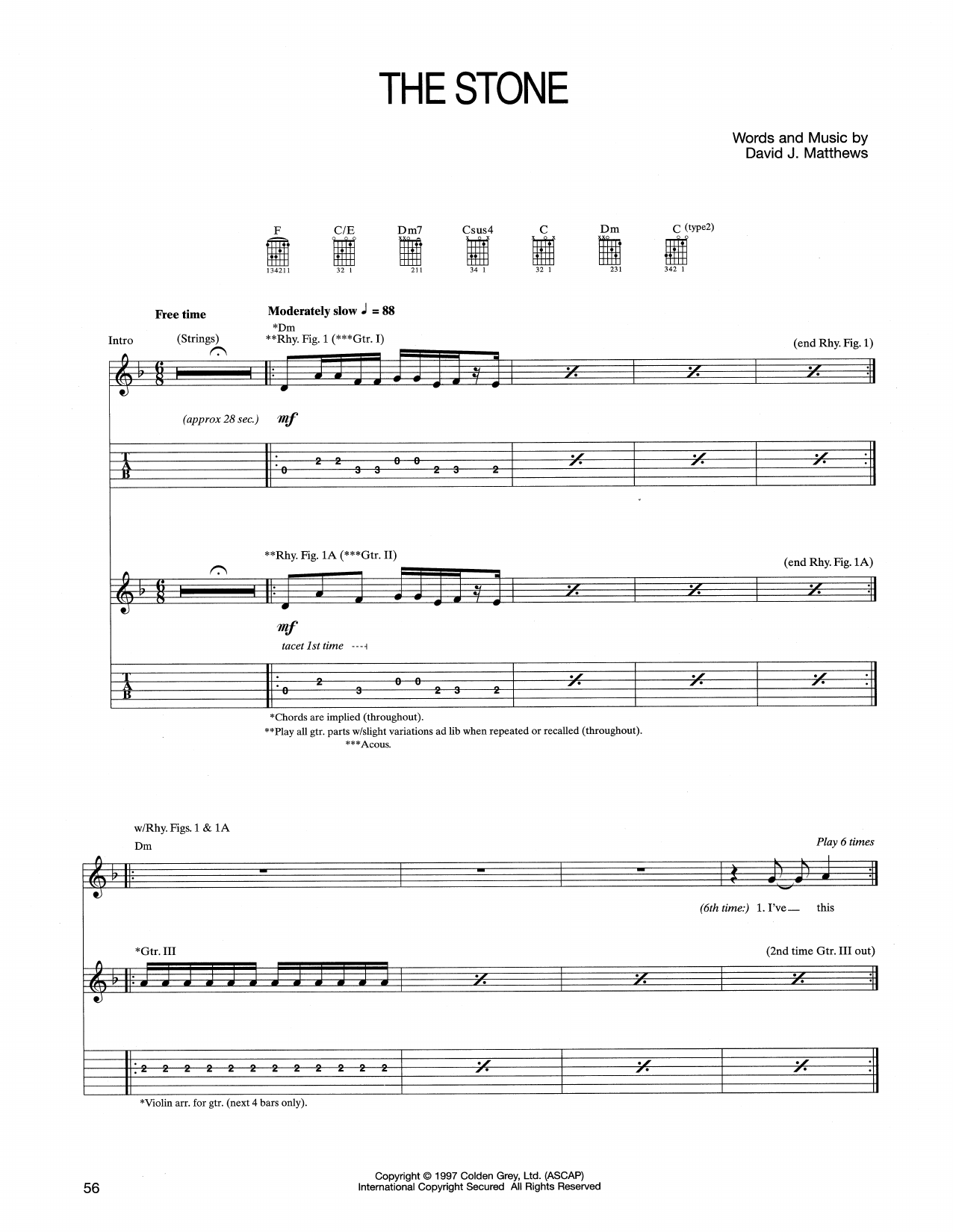 Tablature guitare The Stone de Dave Matthews Band - Tablature Guitare