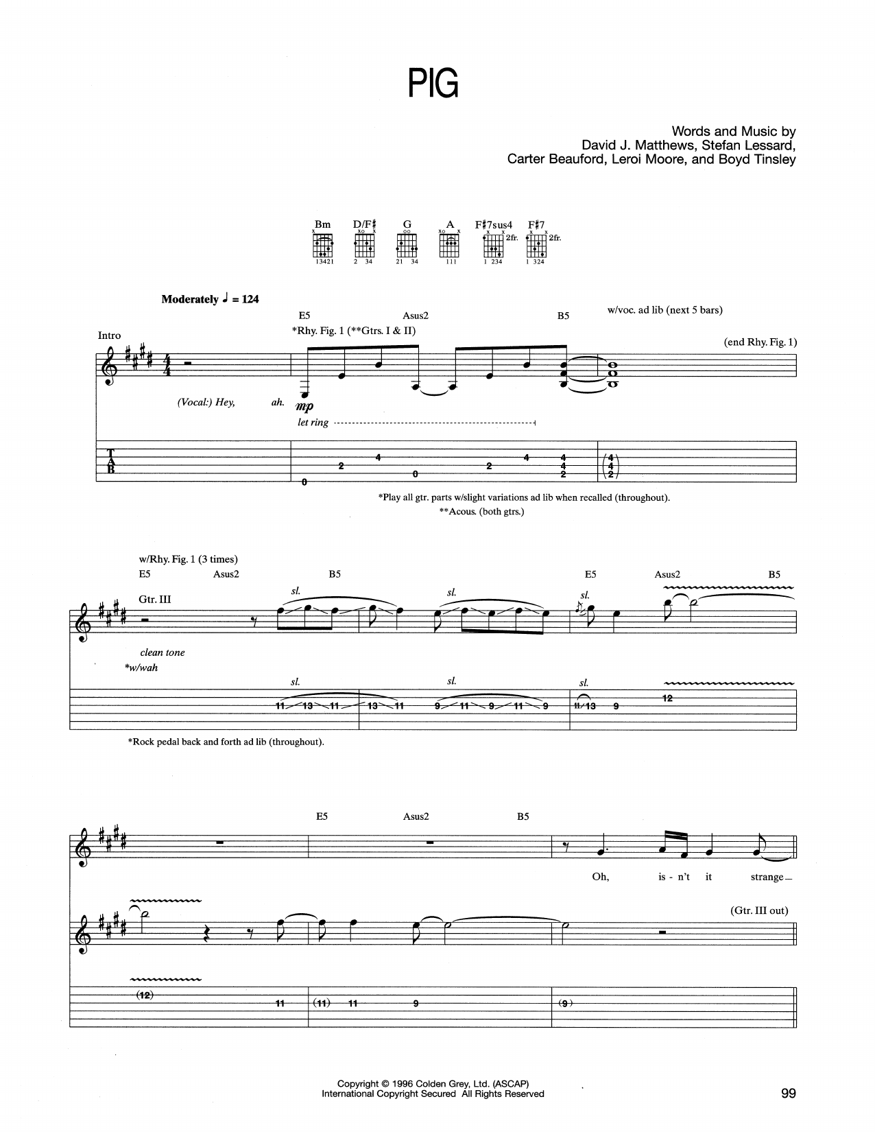 Tablature guitare Pig de Dave Matthews Band - Tablature Guitare