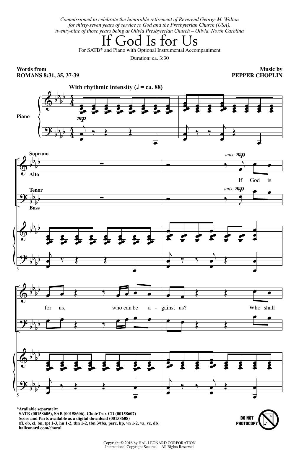 Partition chorale If God Is For Us de  - SATB