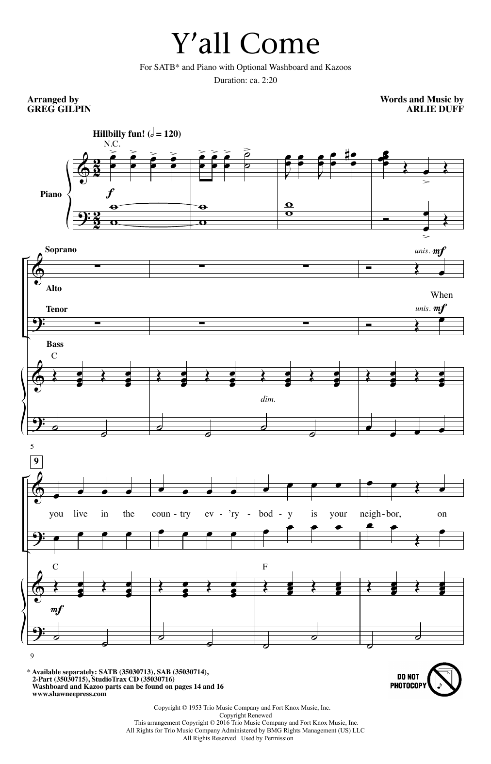 Partition chorale Y'All Come de Arlie Duff - SATB