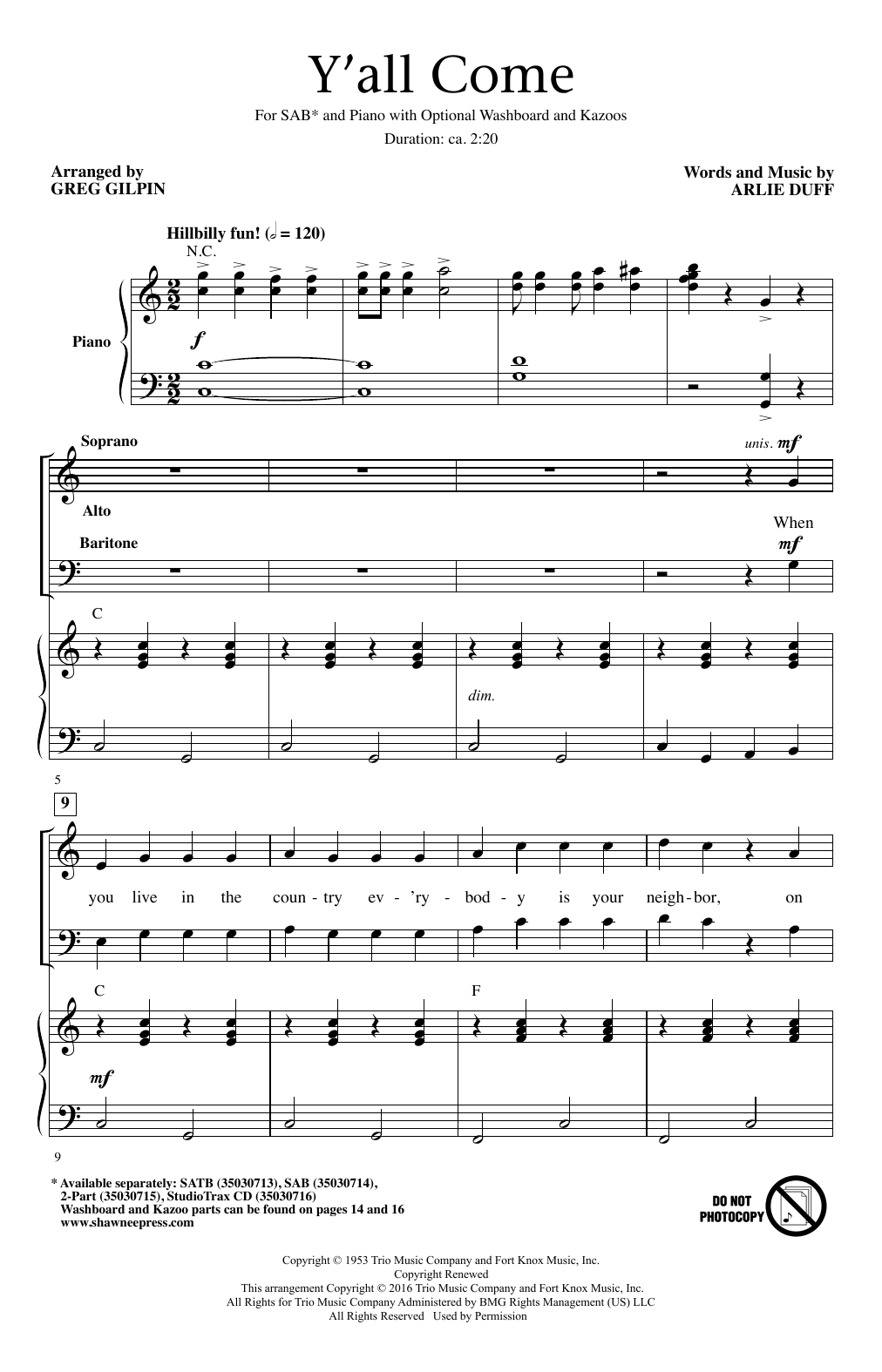 Partition chorale Y'All Come de Arlie Duff - SAB