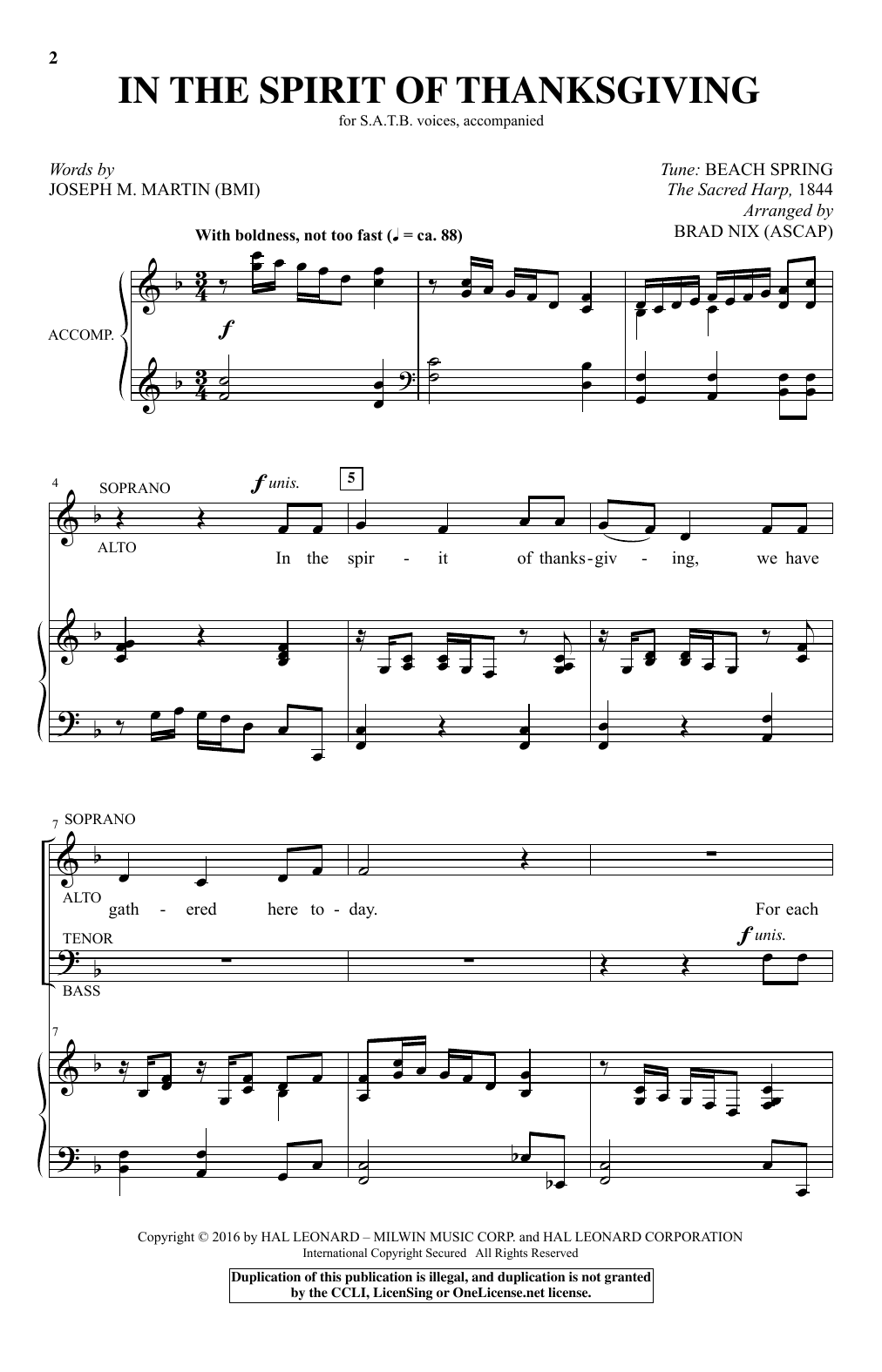 Partition chorale In The Spirit Of Thanksgiving de Brad Nix - SATB