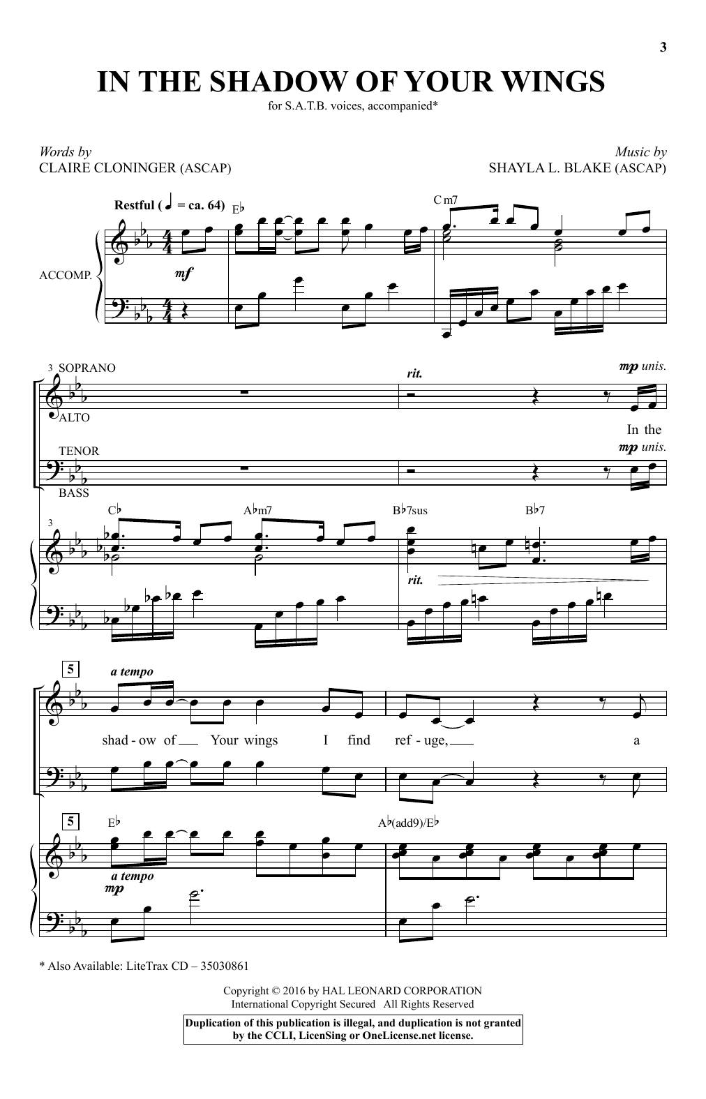 Partition chorale In The Shadow Of Your Wings de Shayla L. Blake - SATB