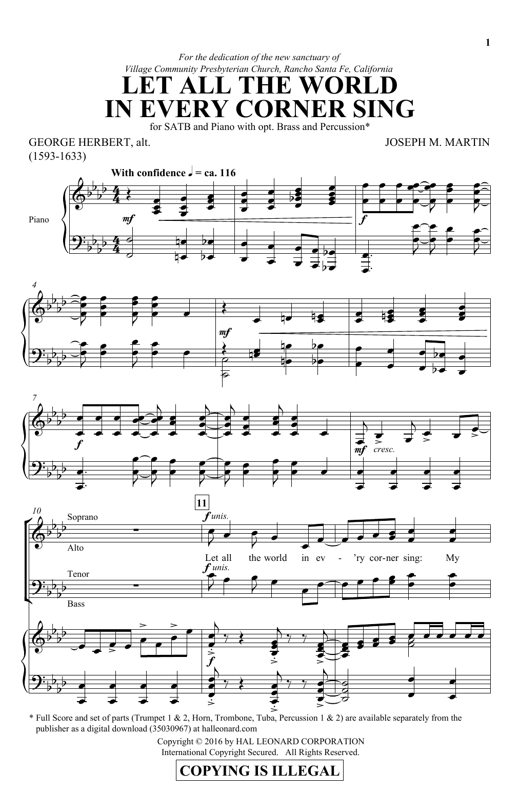 Partition chorale Let All The World In Every Corner Sing de Joseph M. Martin - SATB