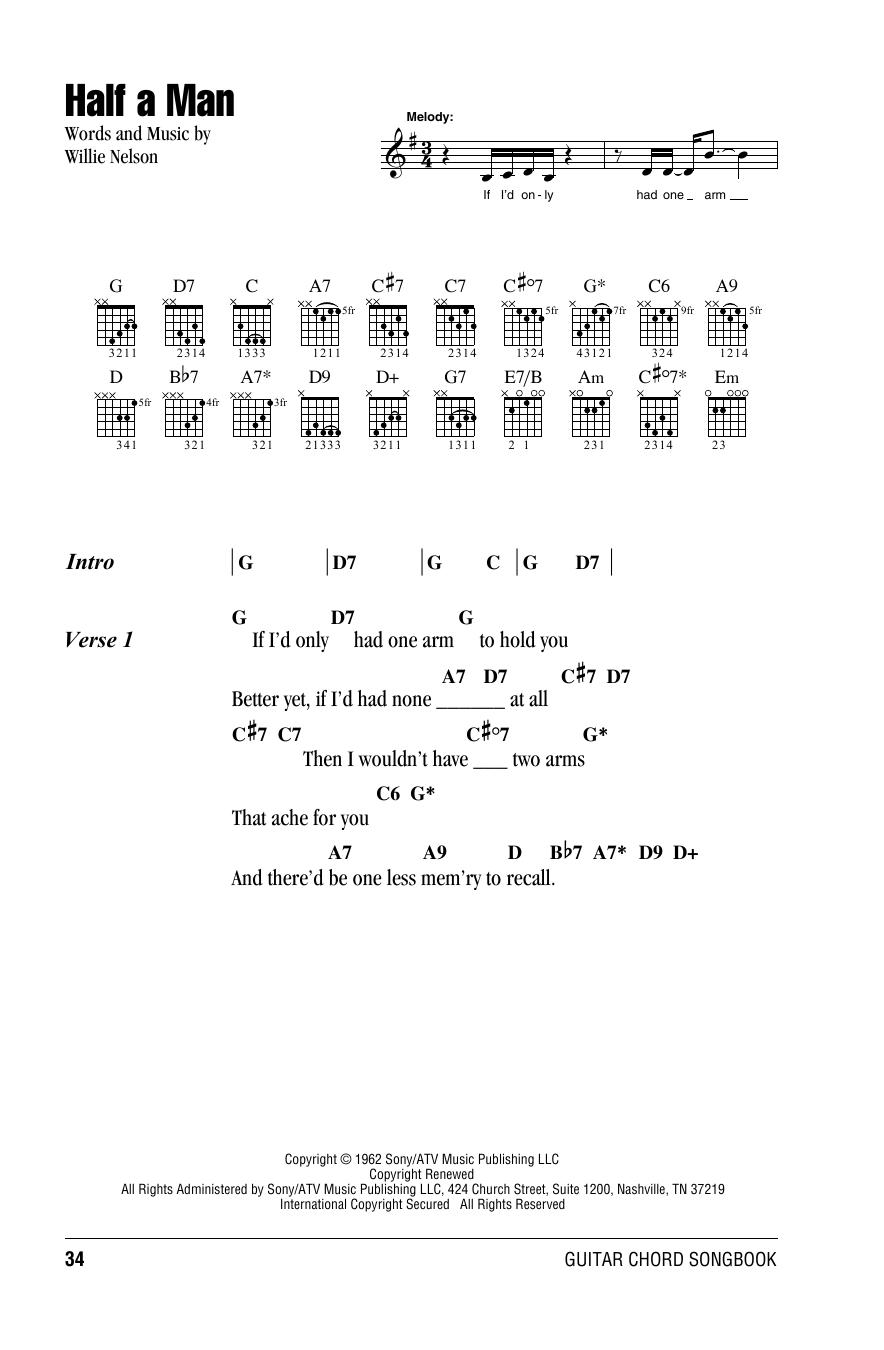 Snap Half A Man Sheet Music By Willie Nelson Lyrics Chords