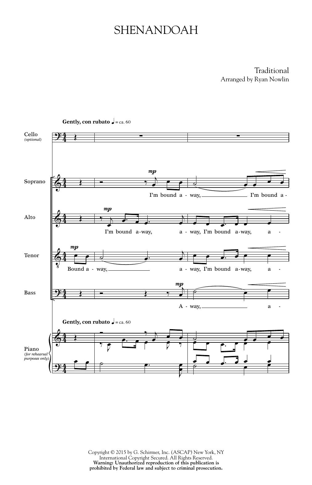 Partition autre Shenandoah de Ryan Nowlin - Violoncelle