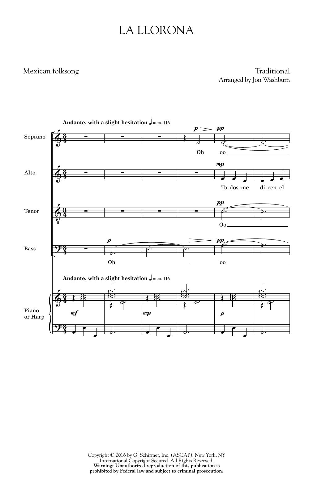Partition chorale La Llorona (arr. Jon Washburn) de  - SATB
