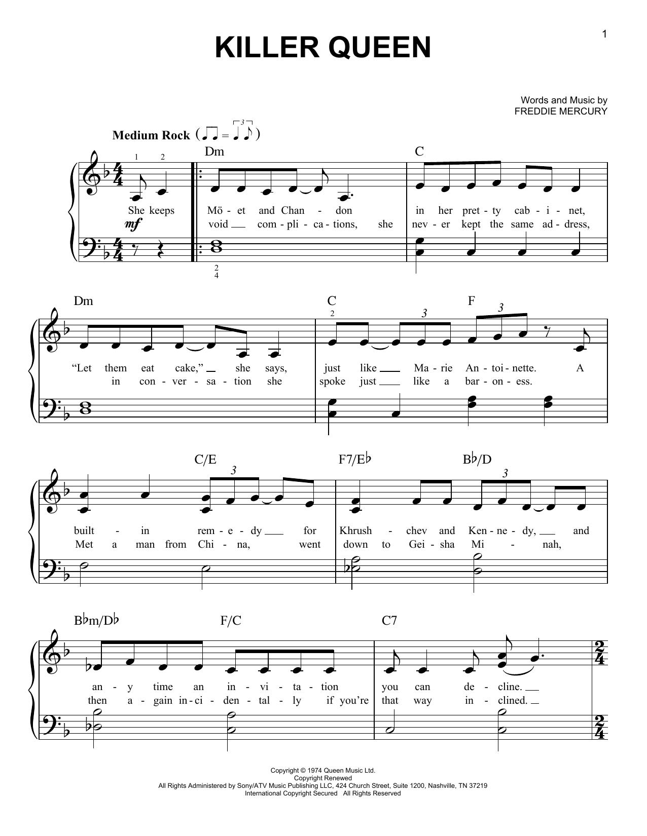 Partition piano Killer Queen de Queen - Piano Facile