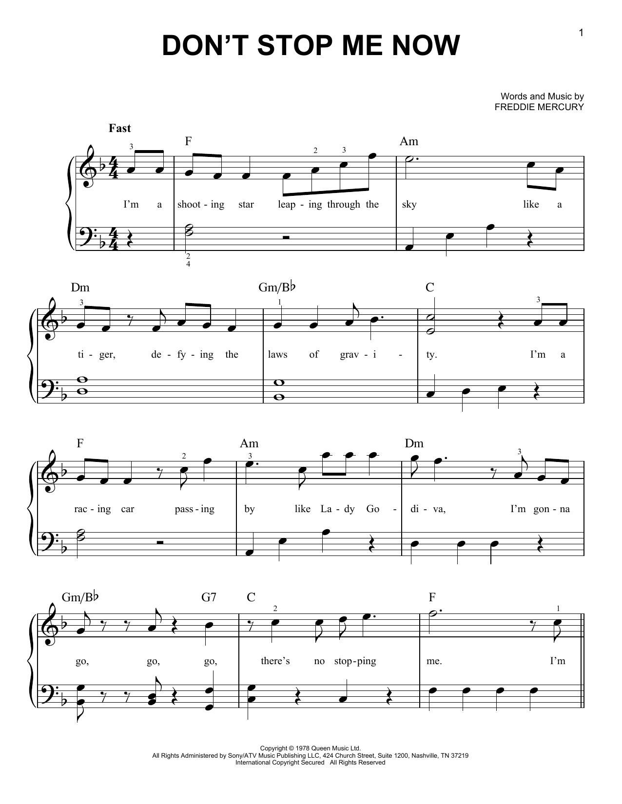 Partition piano Don't Stop Me Now de Queen - Piano Facile