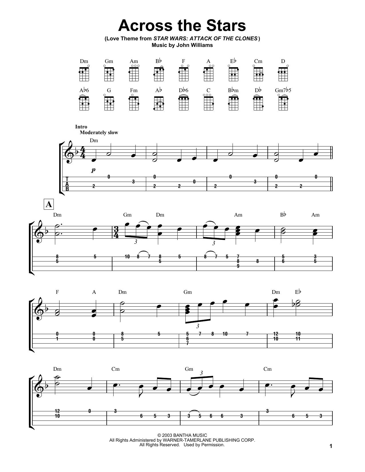 Across The Stars by John Williams - Ukulele - Guitar