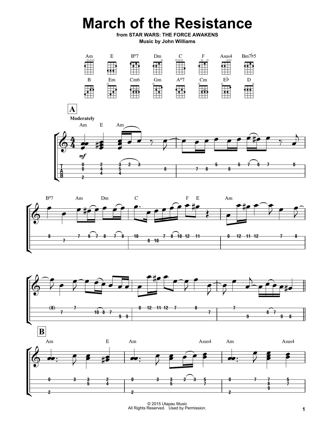 Tablature guitare March Of The Resistance de John Williams - Ukulele