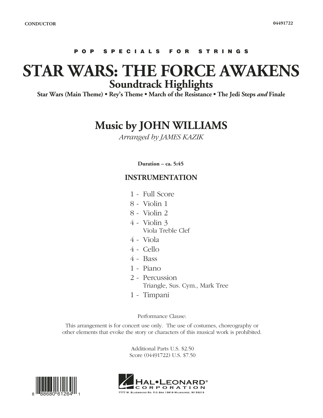 John Williams - Star Wars: The Force Awakens Soundtrack Highlights - Conductor Score (Full Score)
