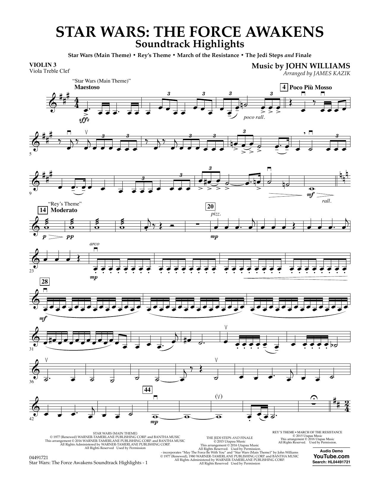 John Williams - Star Wars: The Force Awakens Soundtrack Highlights - Violin 3 (Viola Treble Clef)