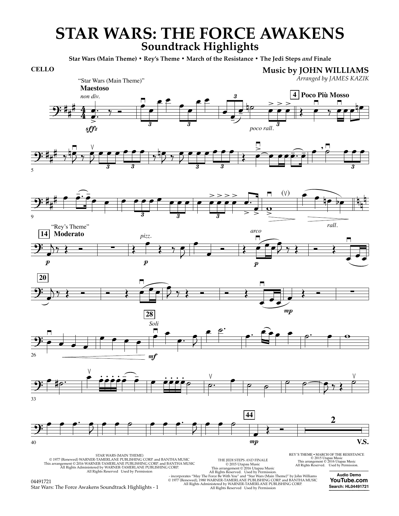John Williams - Star Wars: The Force Awakens Soundtrack Highlights - Cello