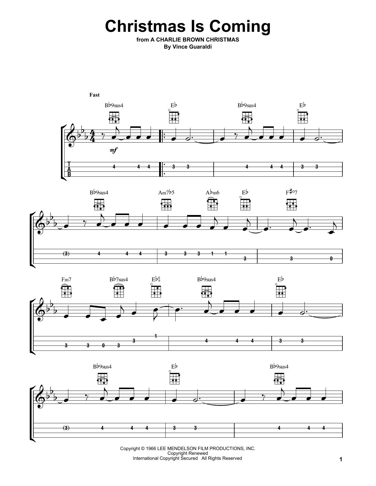 Tablature guitare Christmas Is Coming de Vince Guaraldi - Ukulele