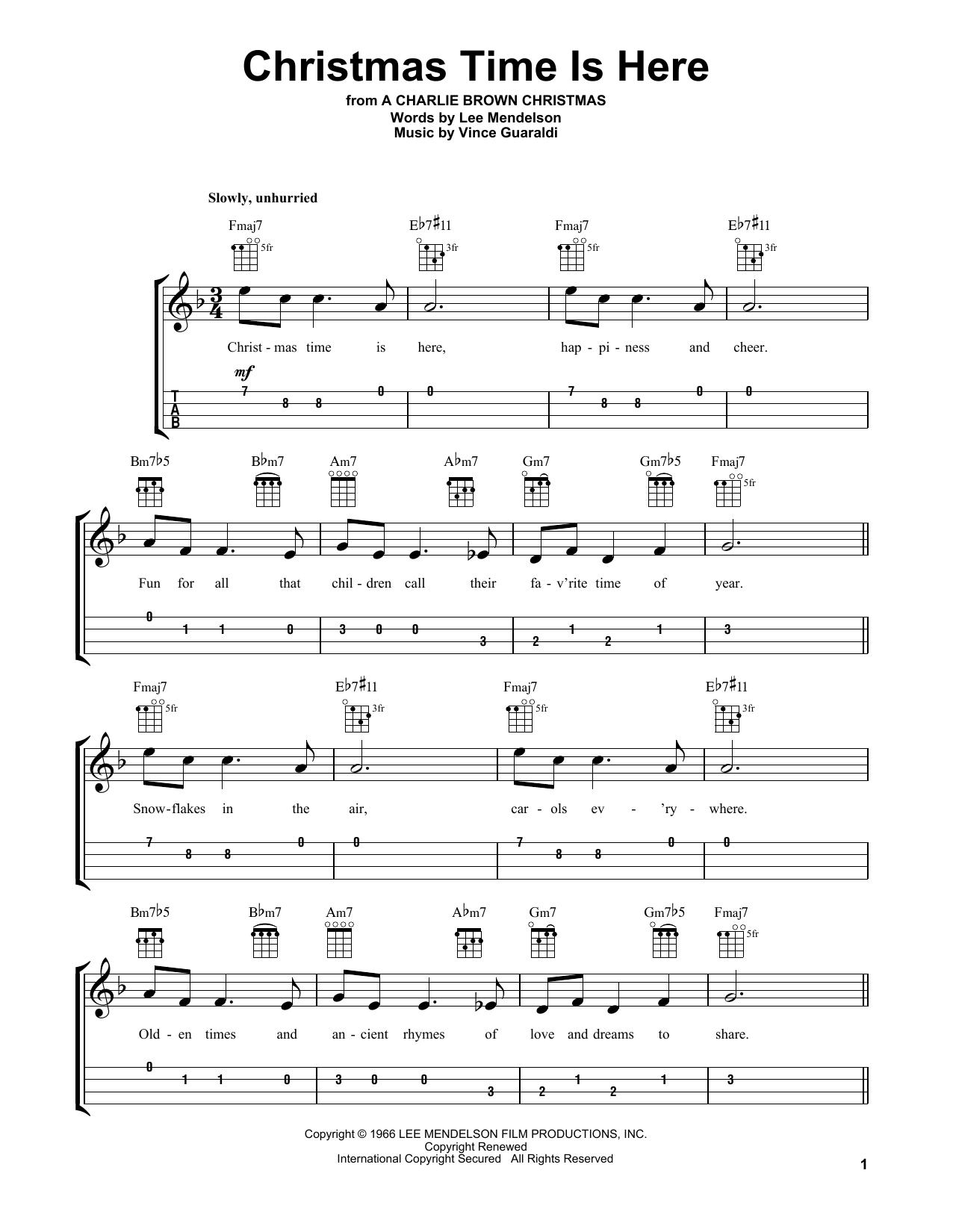 Tablature guitare Christmas Time Is Here de Vince Guaraldi - Ukulele