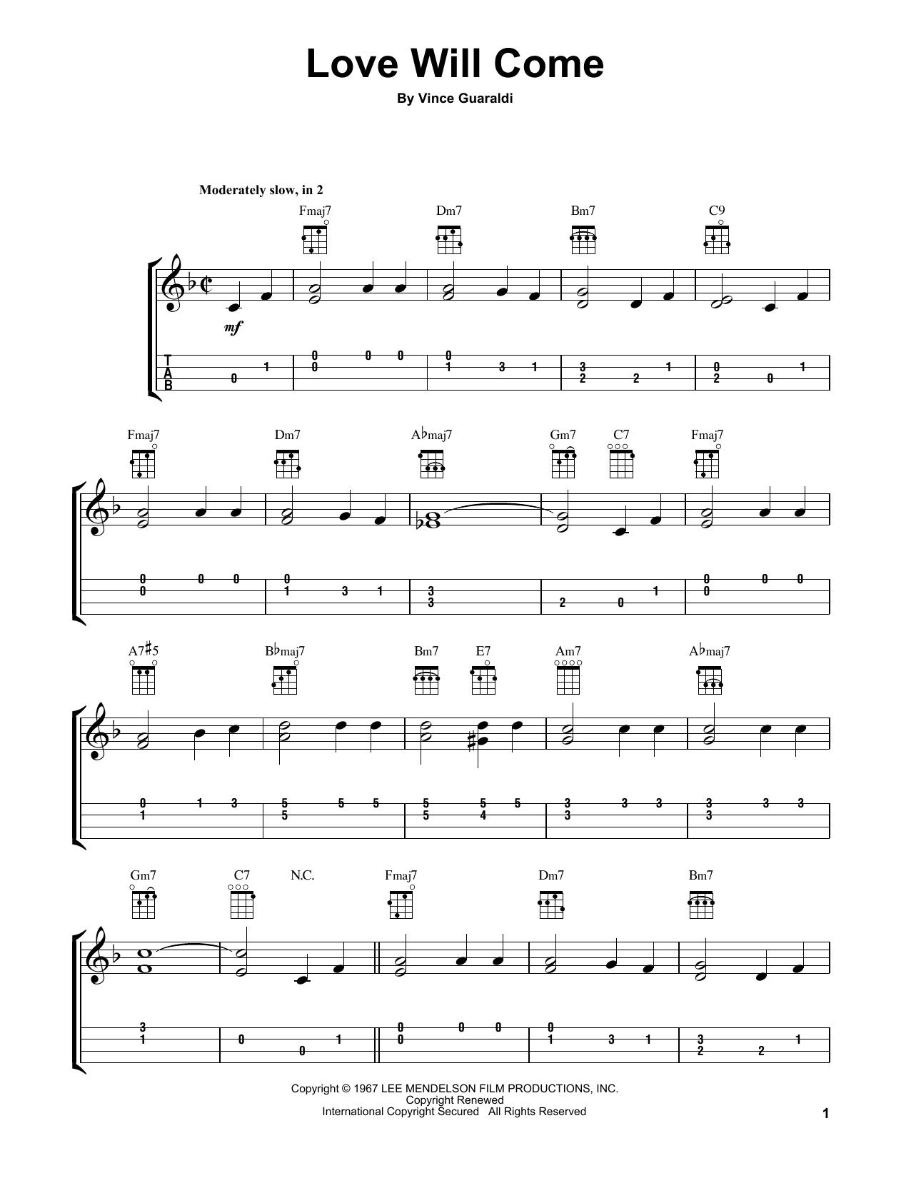 Tablature guitare Love Will Come de Vince Guaraldi - Ukulele