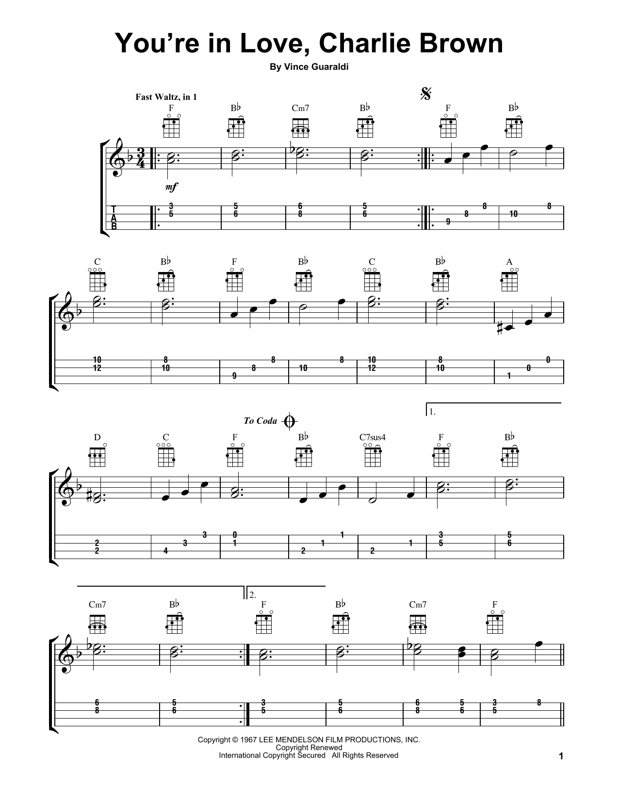 Tablature guitare You're In Love, Charlie Brown de Vince Guaraldi - Ukulele
