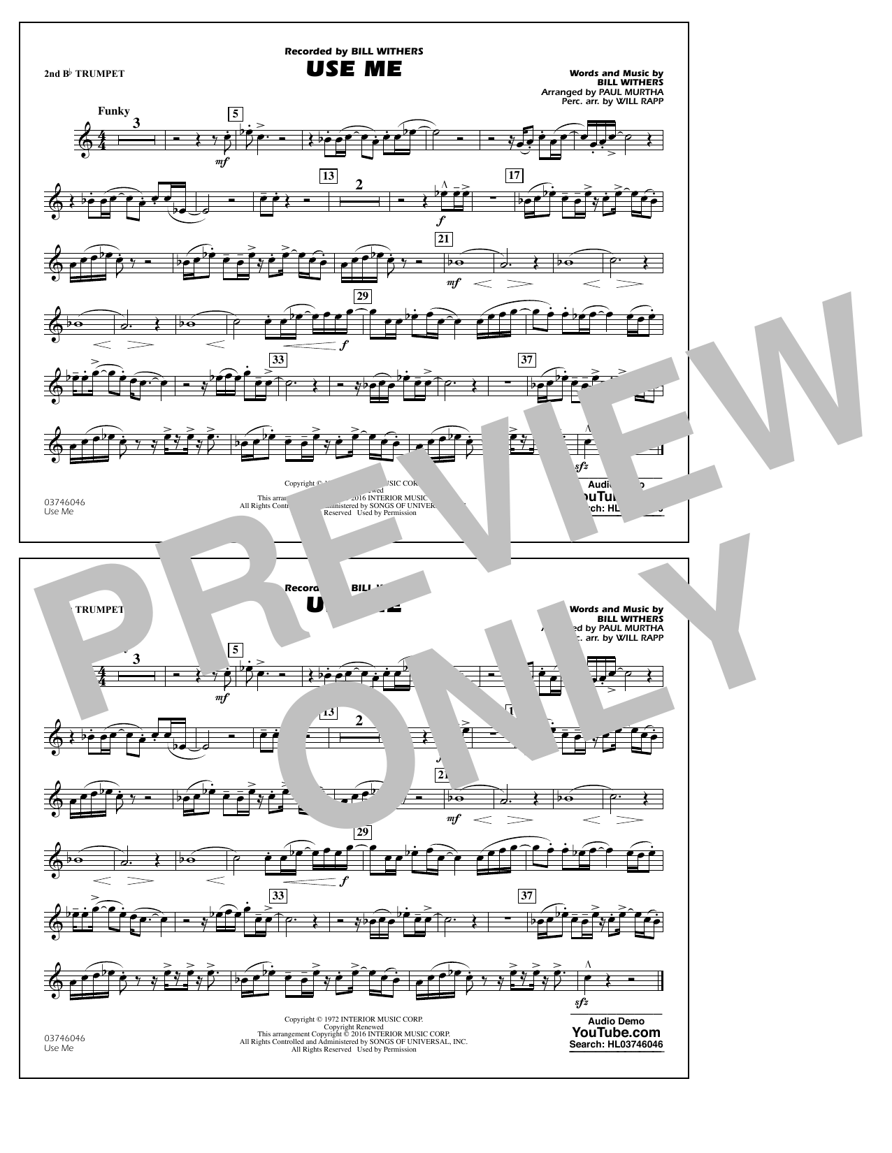 Sheet music digital files to print licensed bill withers digital use me 2nd bb trumpet hexwebz Choice Image