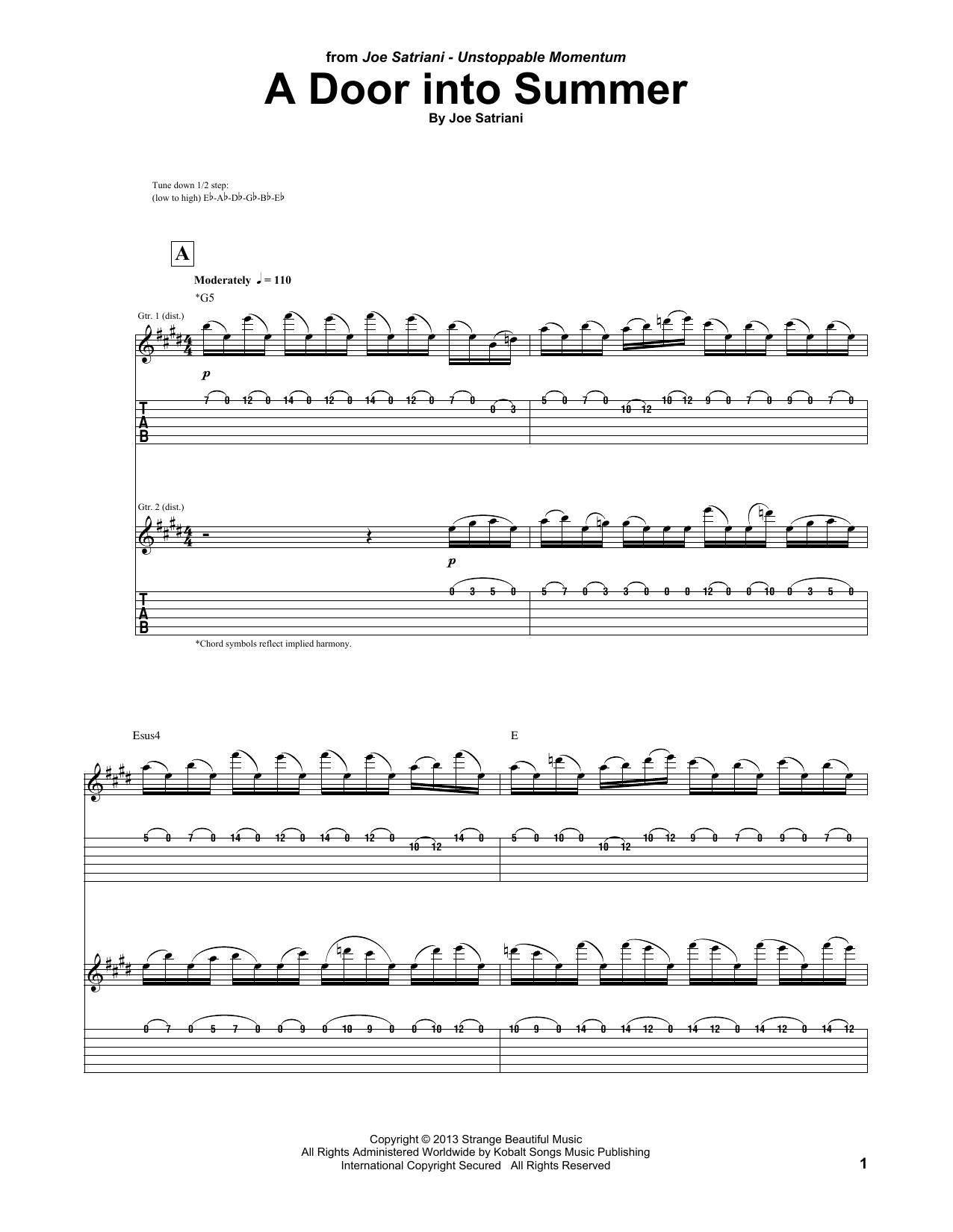 Tablature guitare A Door Into Summer de Joe Satriani - Tablature Guitare