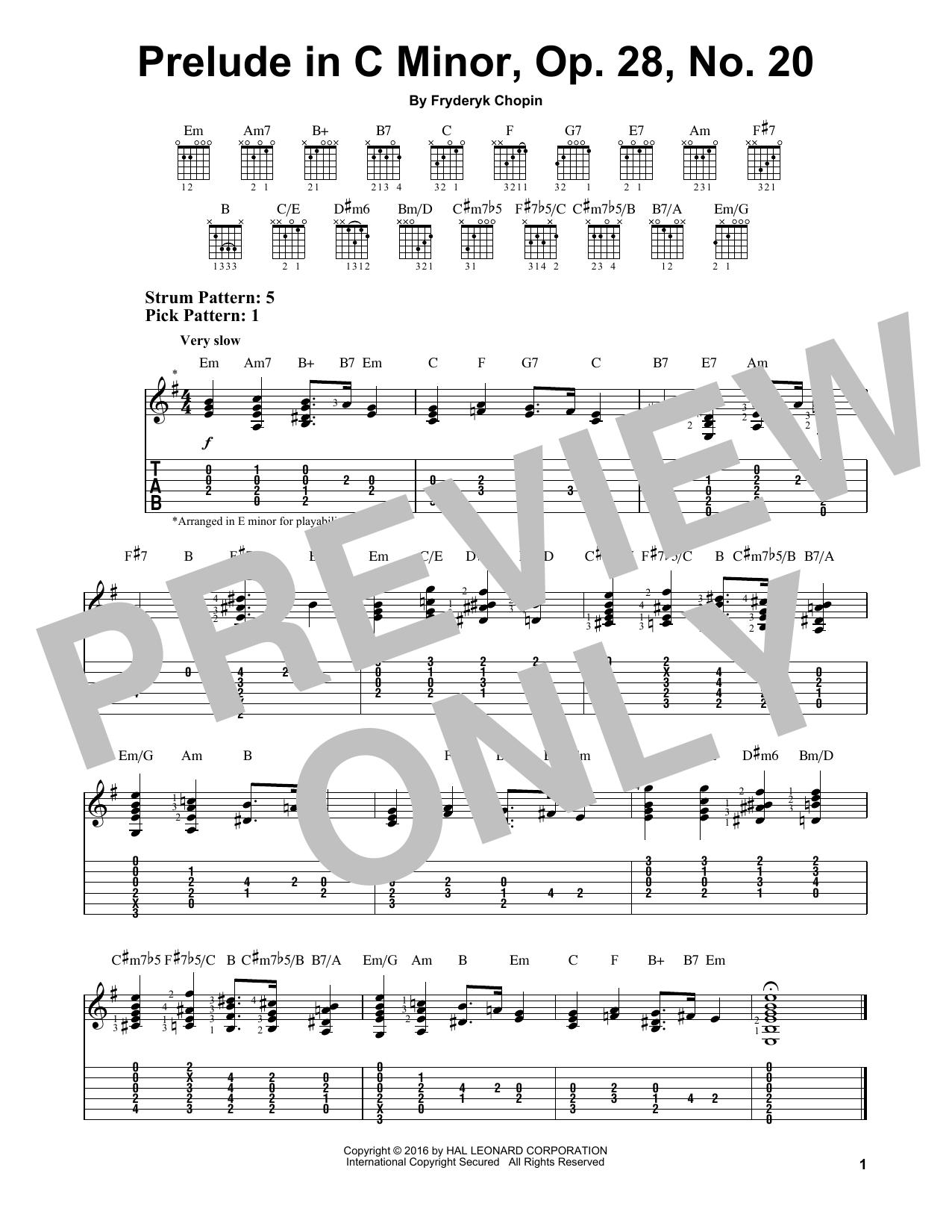 Tablature guitare Prelude In C Minor, Op. 28, No. 20 de Frederic Chopin - Tablature guitare facile