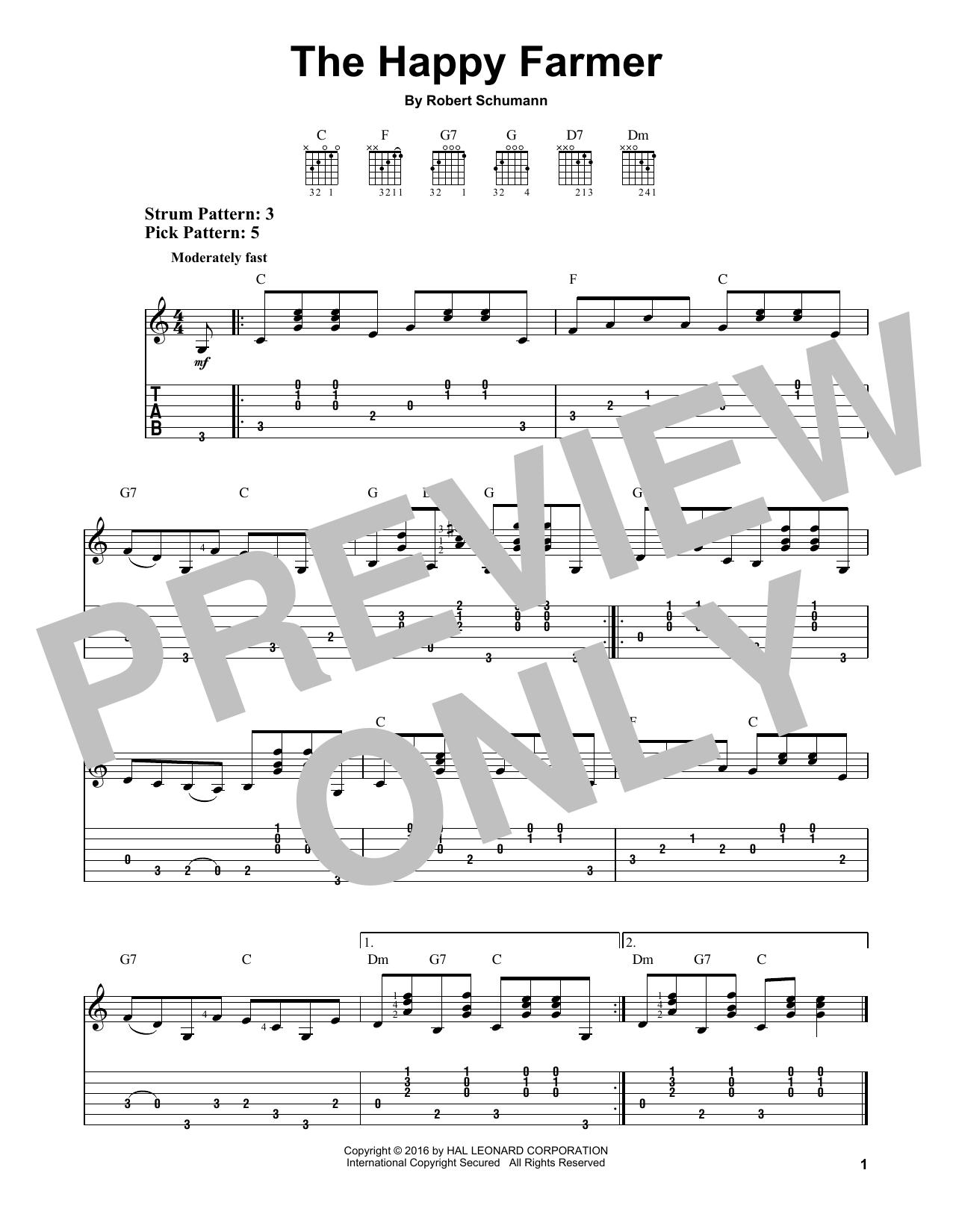 Tablature guitare The Happy Farmer de Robert Schumann - Tablature guitare facile