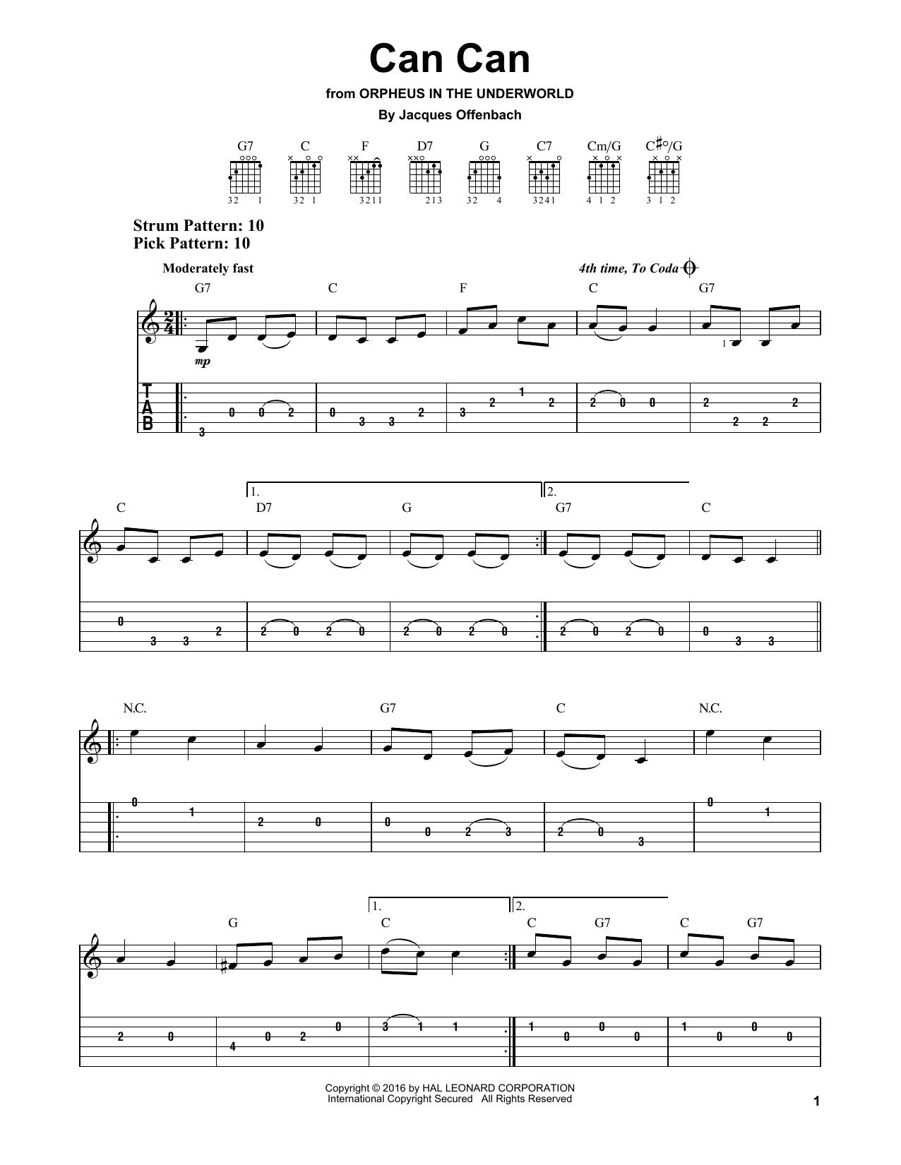 Tablature guitare Can Can de Jacques Offenbach - Tablature guitare facile
