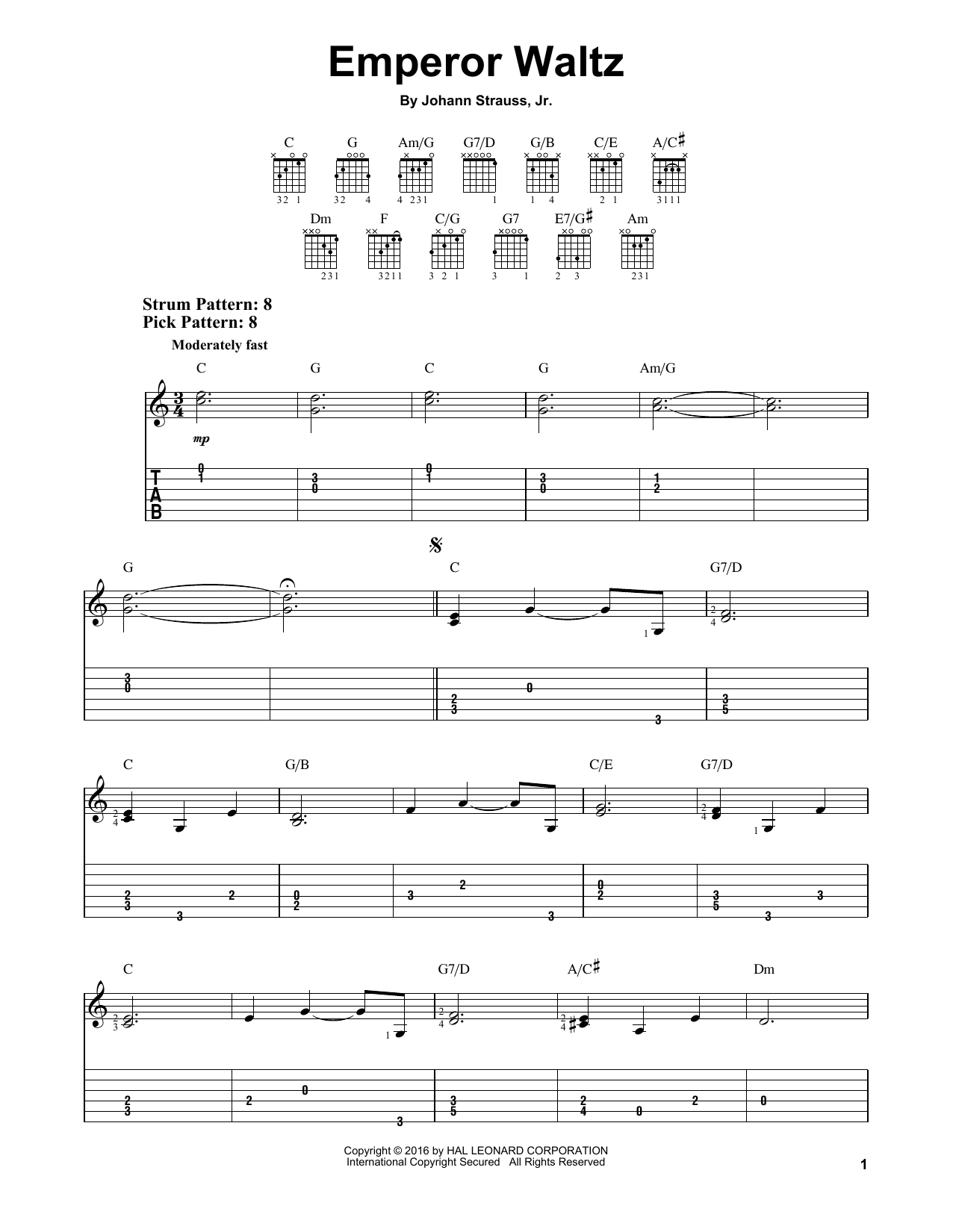 Tablature guitare Emperor Waltz de Johann Strauss, Jr. - Tablature guitare facile