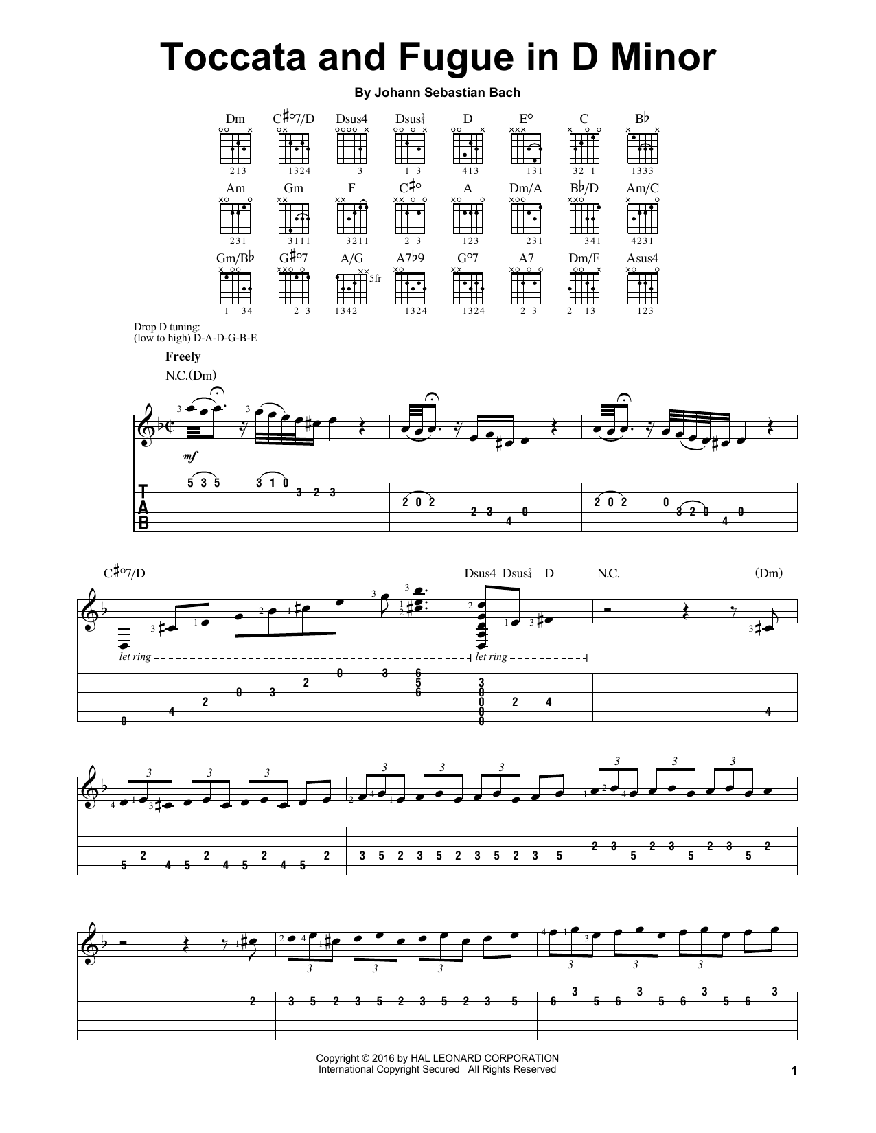 Tablature guitare Toccata And Fugue In D Minor de Johann Sebastian Bach - Tablature guitare facile