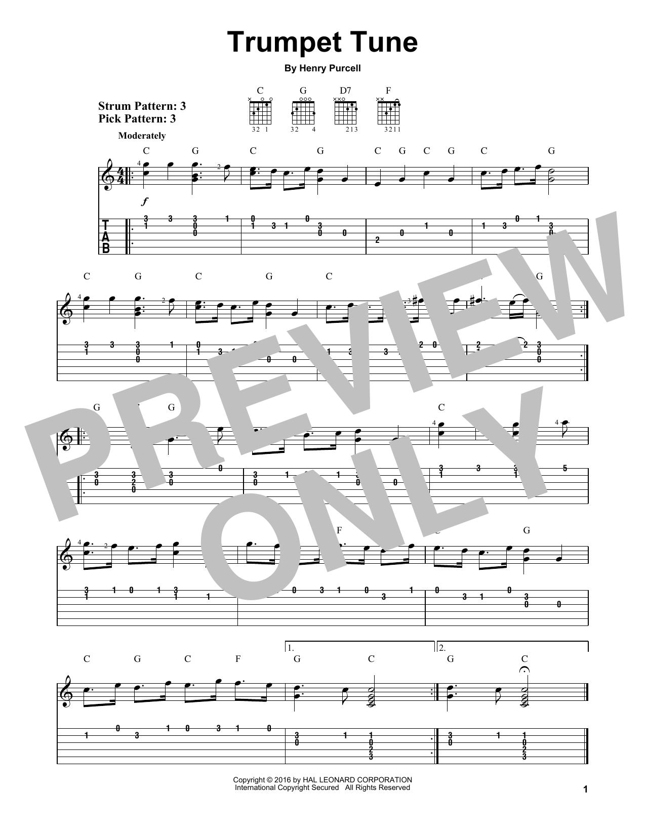 Tablature guitare Trumpet Tune de Henry Purcell - Tablature guitare facile